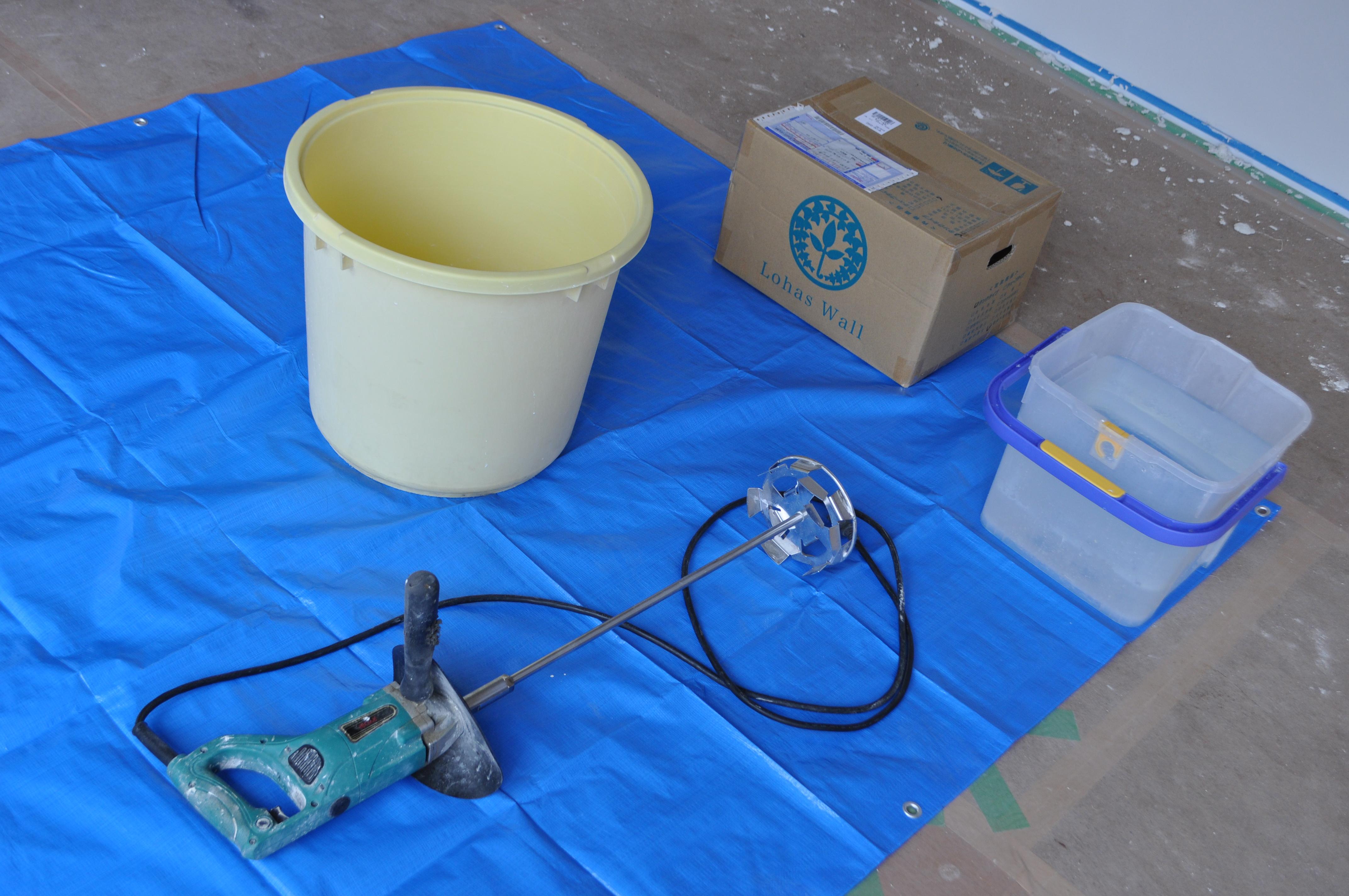 漆喰を練り返すときの撹拌方法